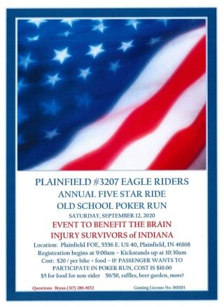 Plainfield #3207 Eagle Riders annual Five Star Ride Old School Poker Run to benefit Heads or Tails/ Brain Injury Survivors of Indiana Support Group! @ Plainfield FOE