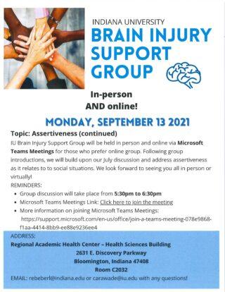 IU Speech and Hearing Brain Injury Support Group